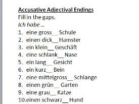 Quick German worksheet: adjectival endings in accusative case
