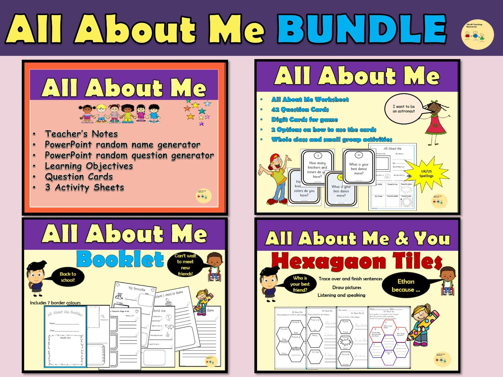 All About Me/Back to School: Worksheets, Question Cards, Booklet BUNDLE