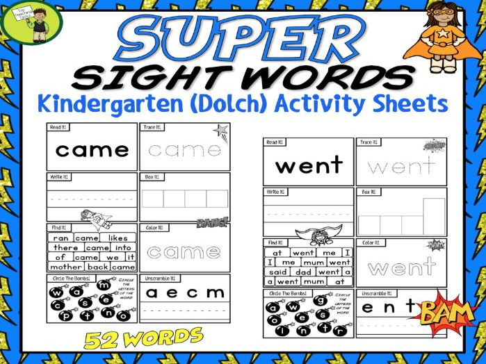 52 Kindergarten SUPER Sight Word Practice (Dolch) Printables