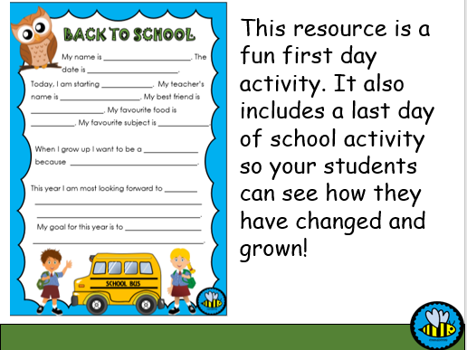 Time Capsule: Beginning of Year Activity