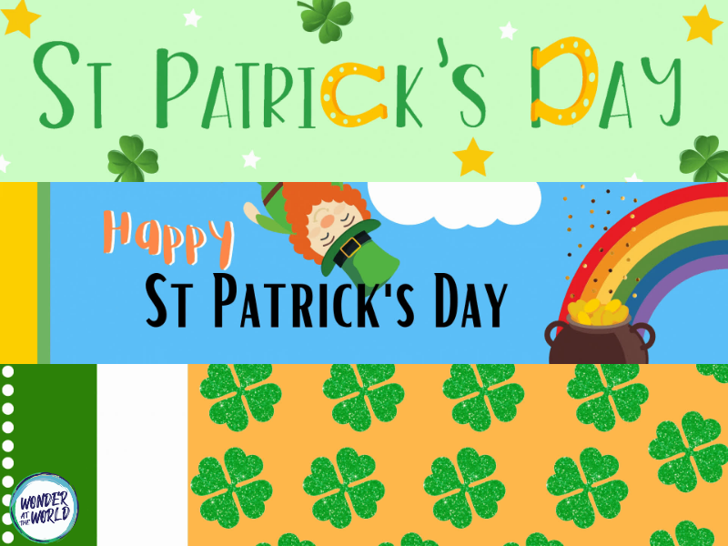 St Patrick's Day animated Google Classroom headers banners