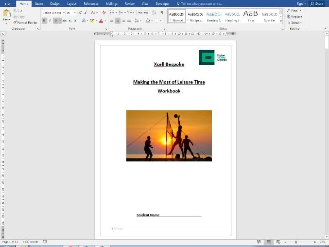 Making the most of leisure time work book