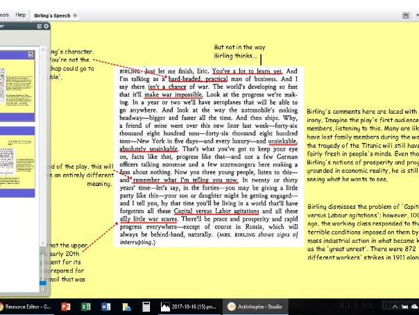 Annotated 'An Inspector Calls':  Birling's Capitalist Speech