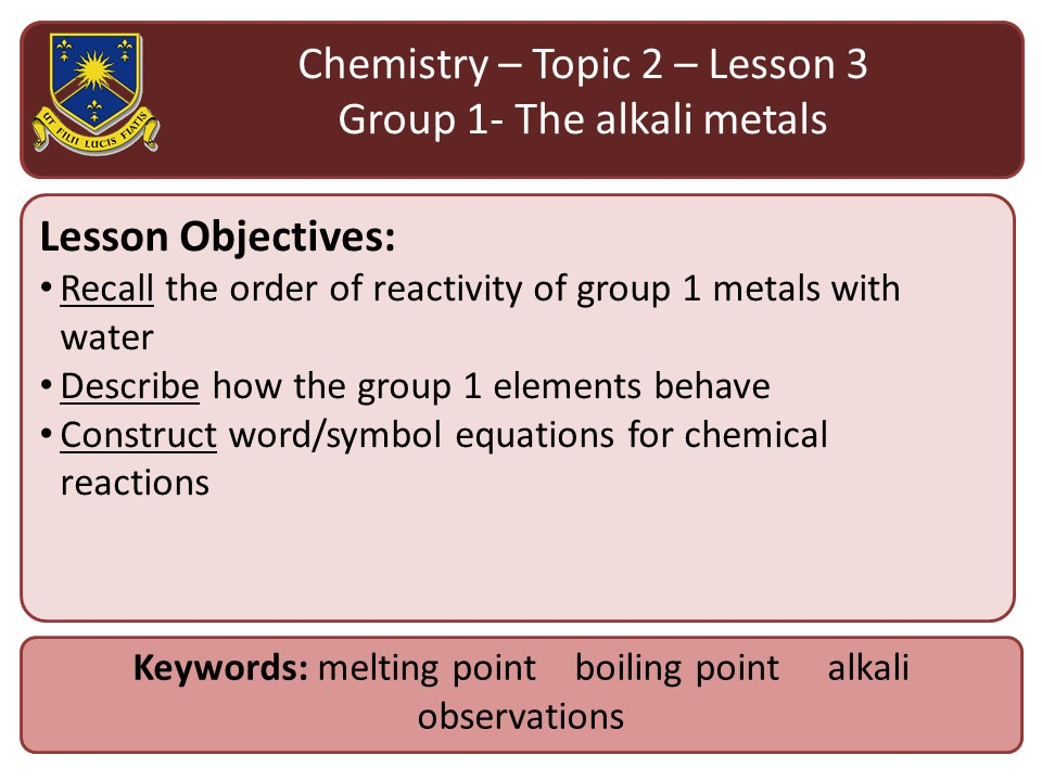 New AQA 2016 Chemistry Chapter 2 Lesson 3 group 1 - the alkali metals