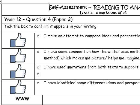 AQA PAPER 2 Q4 SELF ASSESSMENT