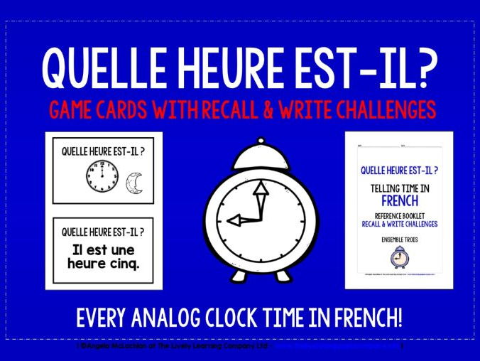 FRENCH TELLING TIME MATCHING CARDS & RECALL CHALLENGES - EVERY ANALOG CLOCK TIME!