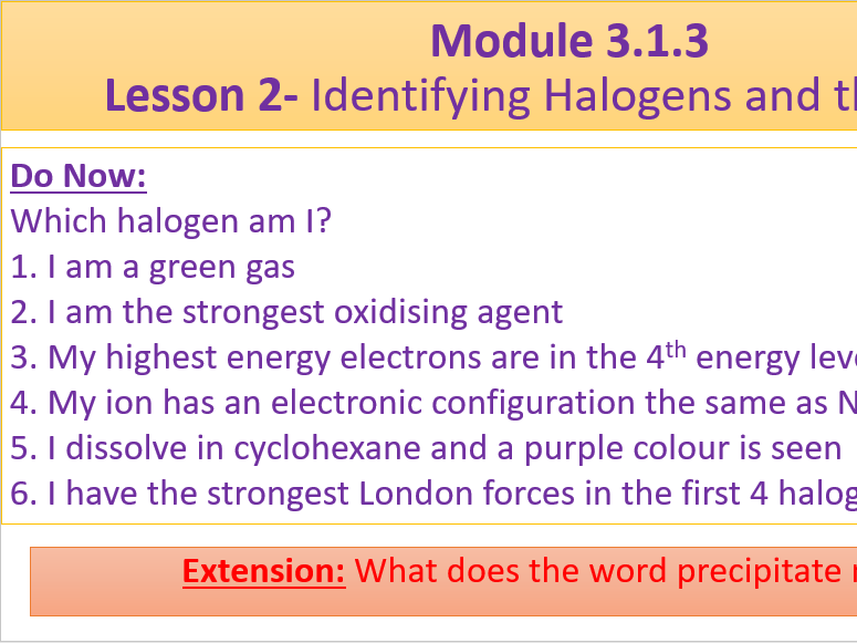 A Level Chemistry OCR A Modules 3.1.2, 3.1.3 and 3.1.4