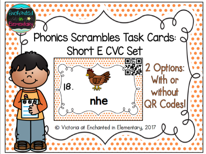 Phonics Scrambles Task Cards: Short e CVC Set