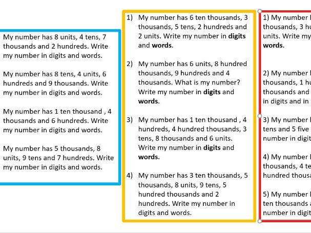 Identify place value year 6