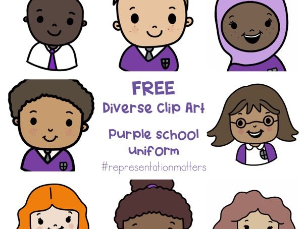 Diverse Pupil Clip Art - Purple Uniform