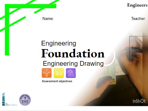 Year 7 Engineering Drawing Skills - 5week project, Lockdown,  Home learning Workbook and Videos