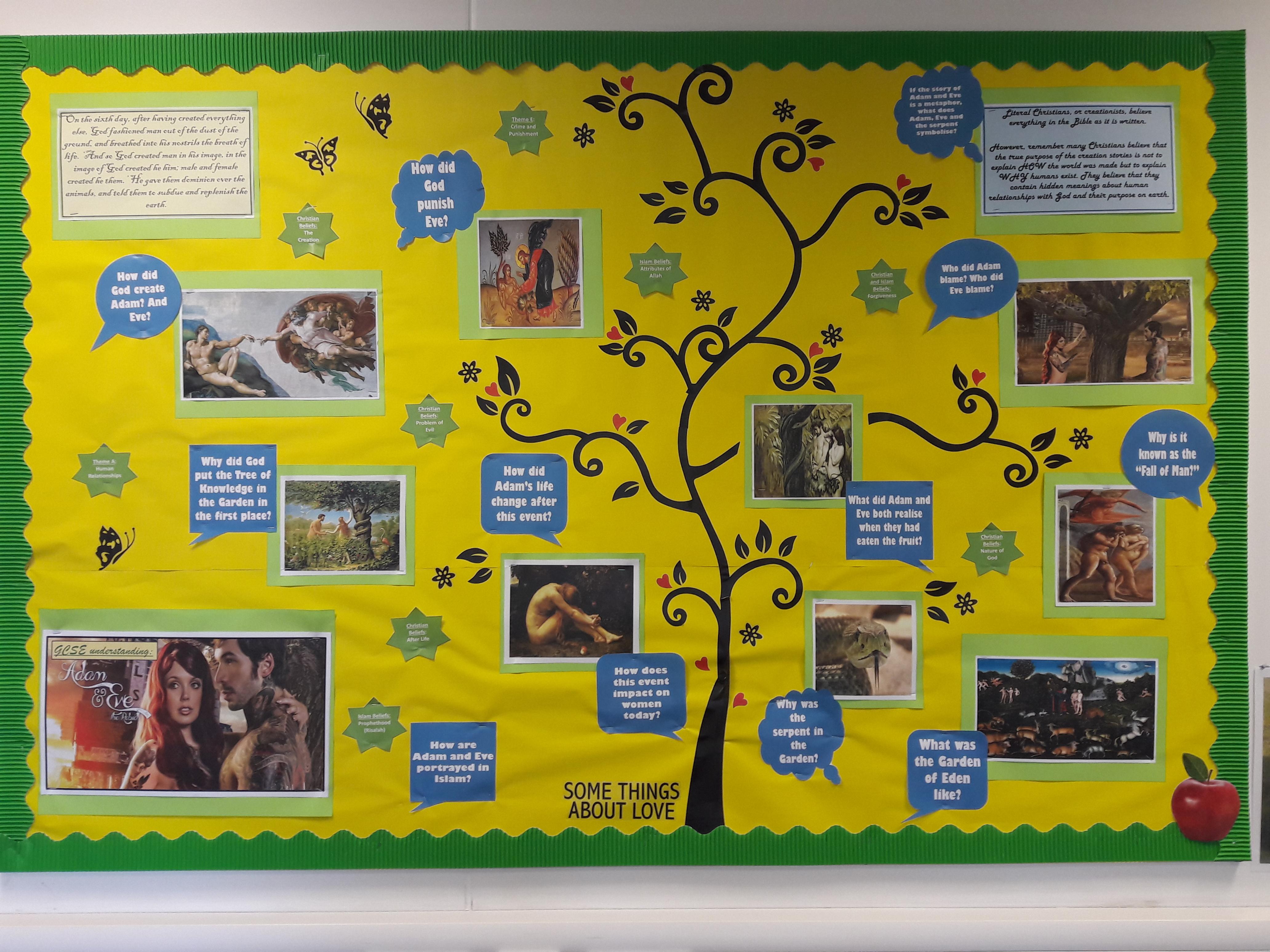 RE display - Adam & Eve GCSE