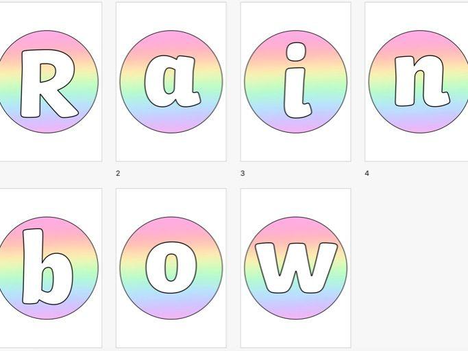 Rainbow Circular Display Lettering