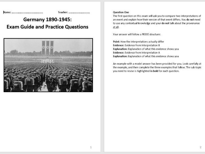 Germany 1890-1945, Democracy and Dictatorship Exam Guide and Practice Questions (AQA 9-1)