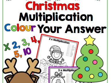 Christmas Multiplication - Colour Your Answer for x2,3,4,5 and 10
