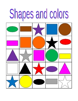 Colors and Shapes in English Bingo game