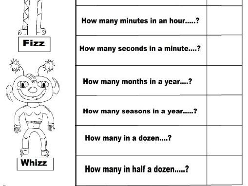 questions with numbers for answers , cut  and stick