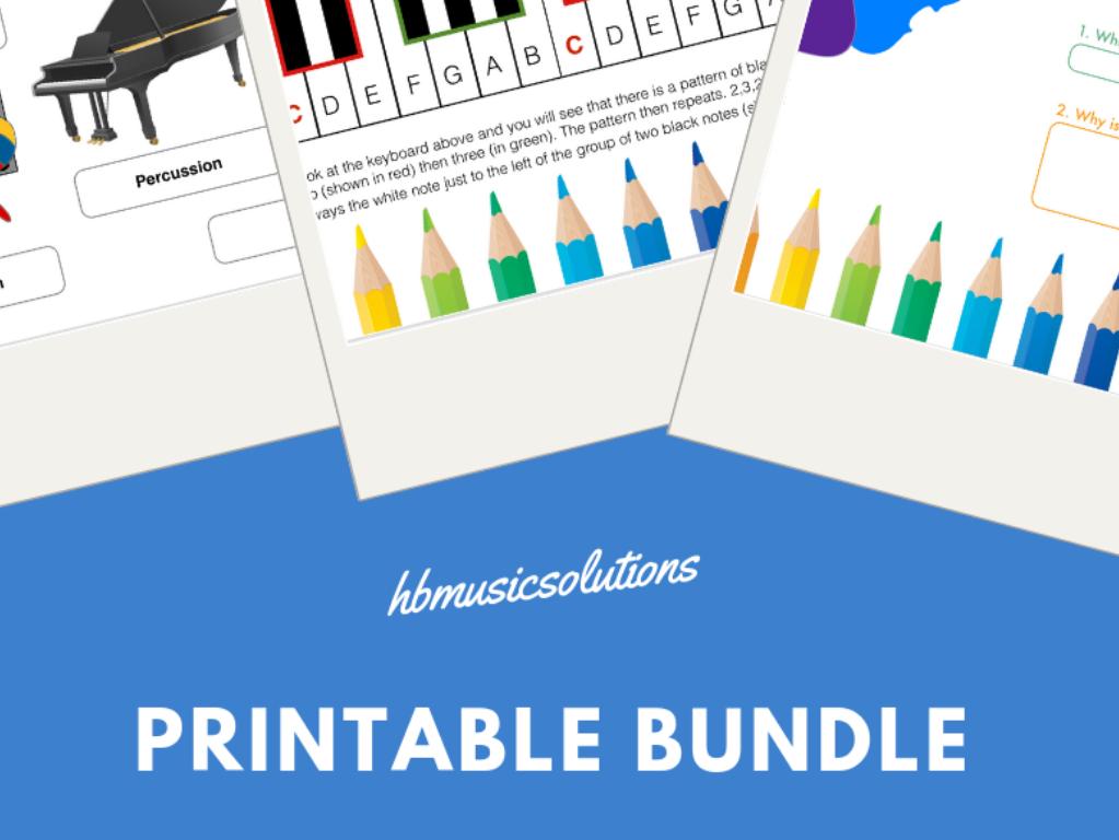 Musical Printable Worksheet  Bundle