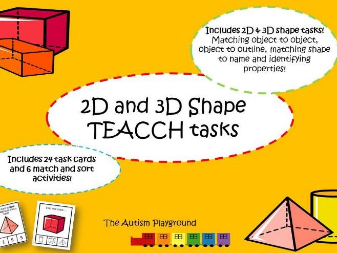 2d and 3d shape TEACCH tasks - independent Autism activities