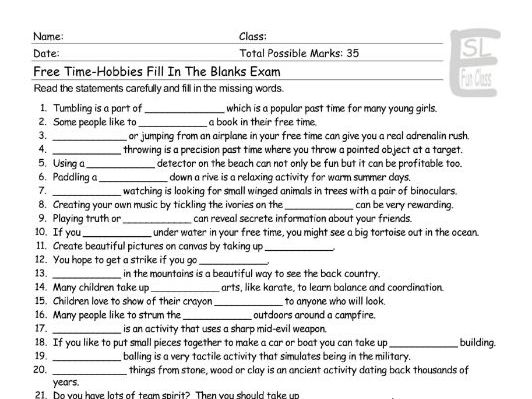 Free Time-Hobbies Fill In The Blanks Exam
