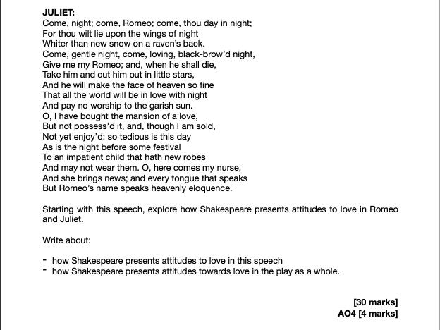 Romeo and Juliet Grade 9 Essay *FULL MARKS*