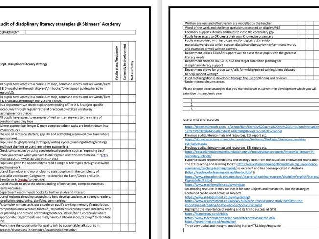 Disciplinary literacy department audit