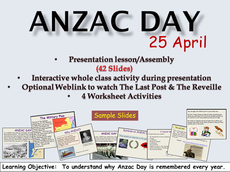 ANZAC Day Presentation Lesson/Assembly, Worksheets/Follow-up Activities, Teacher's Notes/Guide
