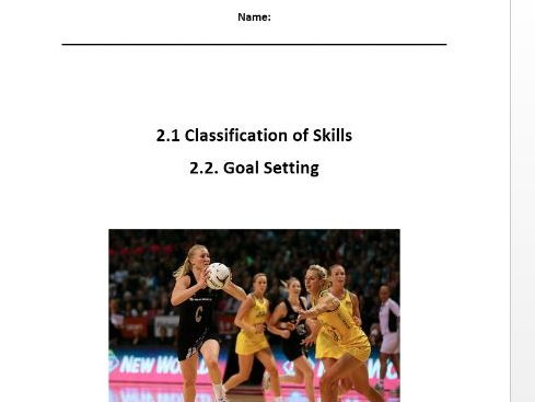 Edexcel New GCSE PE 9-1. Classification of Skill and Goal Setting Workbook.