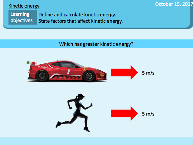 Kinetic energy / Kinetic energy calculations / Motion