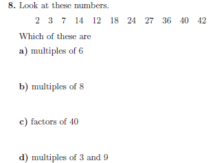 Factors, Multiples and Primes worksheet (with detailed solutions)
