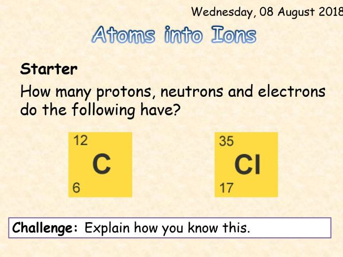 AQA Chemistry Topic 3: Atoms into Ions