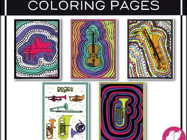 Music Colouring Pages: Instrument Families of the Orchestra | Music Colouring Sheets
