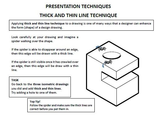 KS3 booklet covering  Isometric drawing, Presentation techniques and Orthographic drawing.
