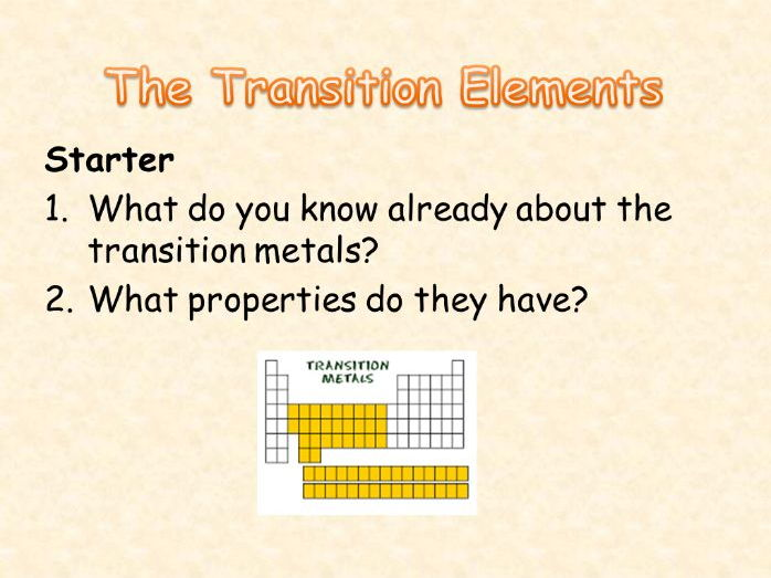 AQA Chemistry Topic 2: Transition Elements