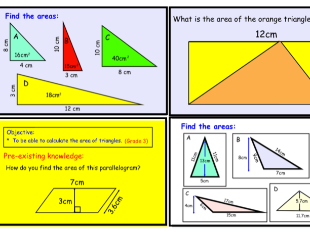 Area of Rectangles, Triangles and Parallelograms (pdf)