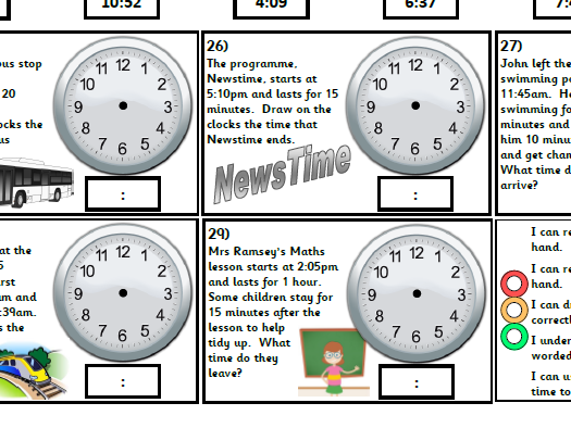Year 3 & 4 Time Pack - telling the time, time facts, 24 hour clock. Supplements White Rose.