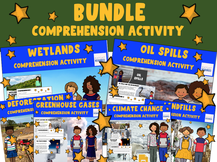 Greenhouse Gases,Wetlands, Oil Spills, Deforestation, Landfills, Greta Thunberg Earth Day Bundle