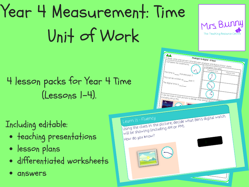 Year 4 Measurement: Time Unit Pack