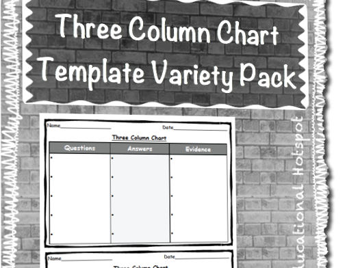 Three Column Chart Template Graphic Organizer Variety Pack