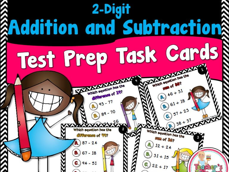 2-Digit Addition and Subtraction Test Prep Task Cards