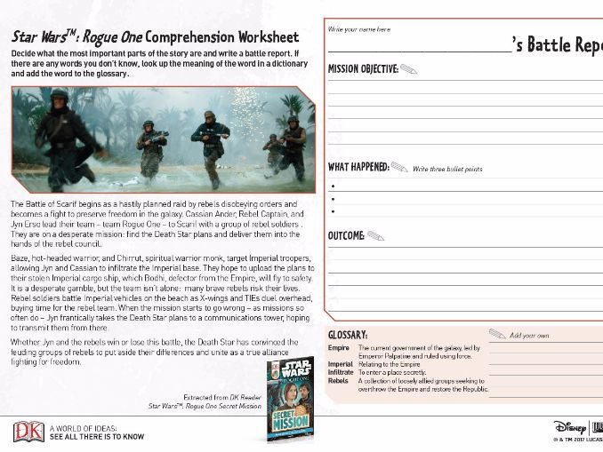 comprehension worksheet  star wars a rogue one story ks2