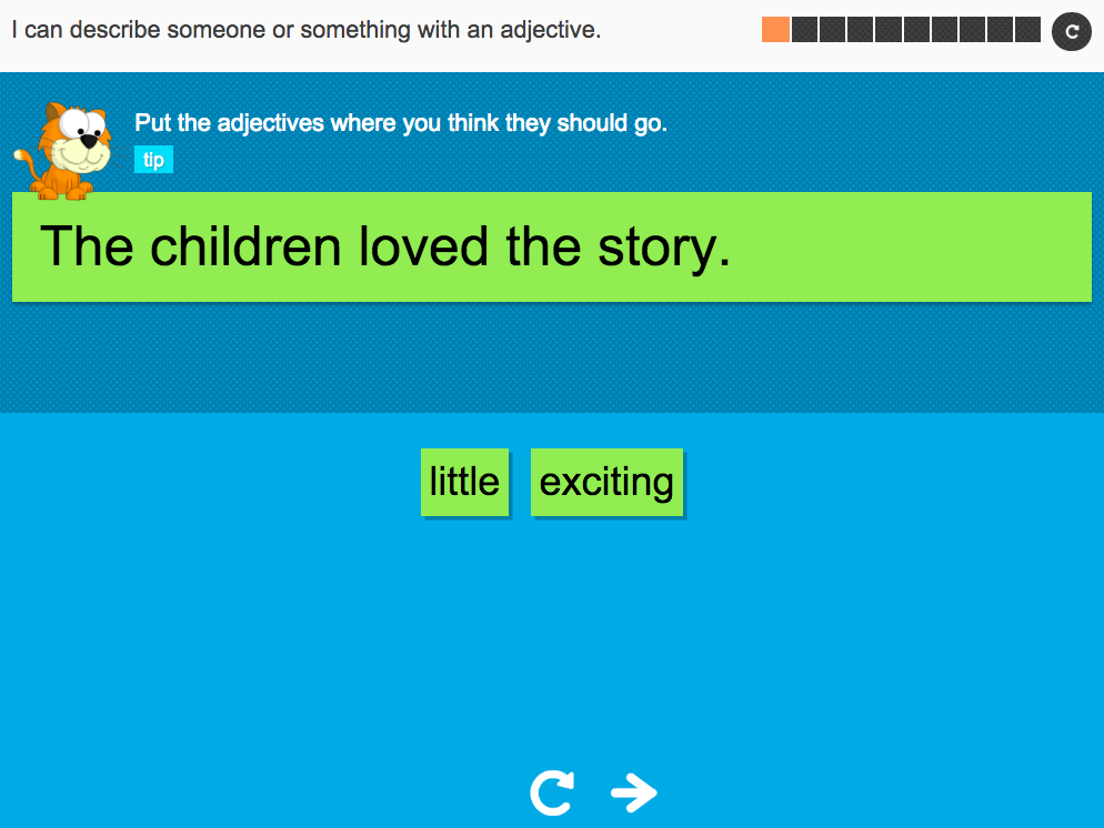 I can describe someone or something with an adjective - Interactive Activity - Year 3 Spag