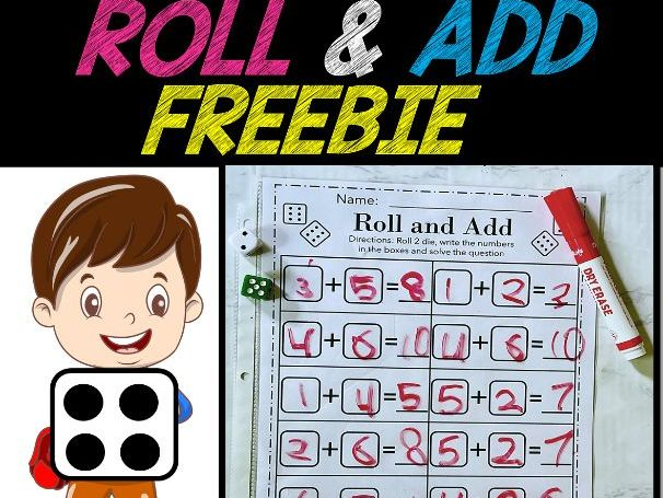 Roll and Add | DICE ADDITION | Math Game for Kindergarten and 1st Grade | FREE