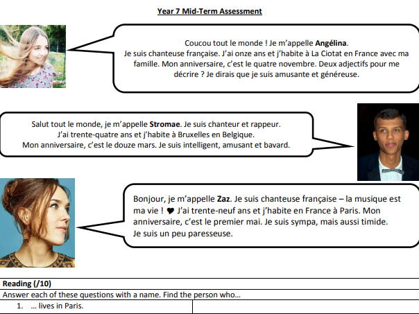 Y7 Autumn - Reading/Translation Test (French)