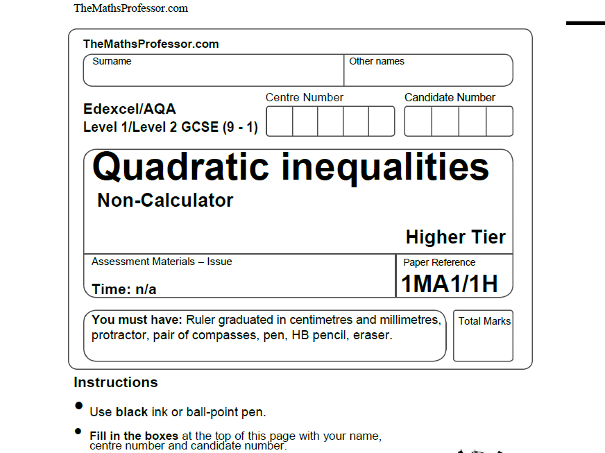 GCSE Maths: Worksheet on Quadratic Inequalities by phildb ...