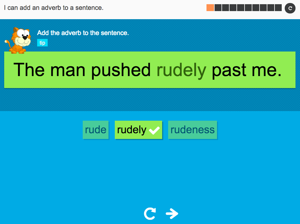 I can add an adverb to a sentence - Interactive Activity - Year 2 Spag