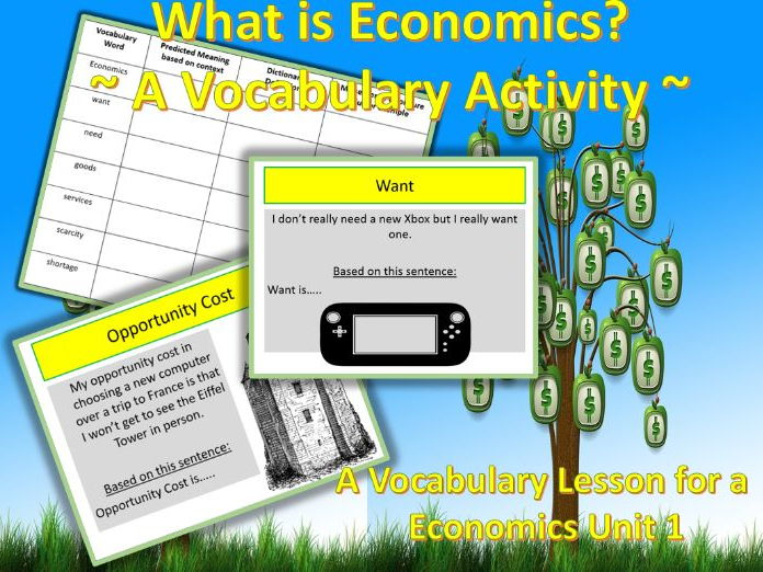 U.S.Economics: Essential Vocabulary for Unit 1 Economics ~ A Vocabulary Activity ~