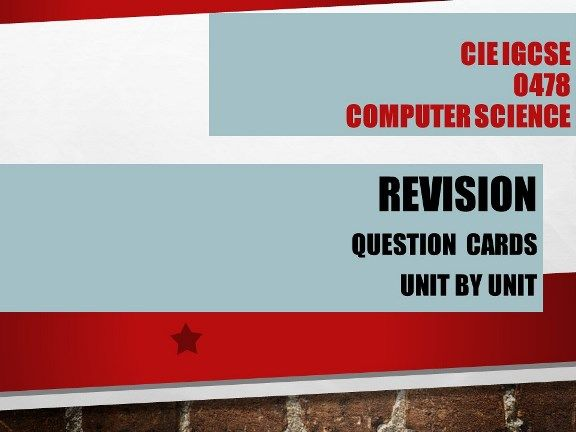 Computer Science GCSE 0478- One mark Questions - Unit 8 & 9 Programming using PYTHON