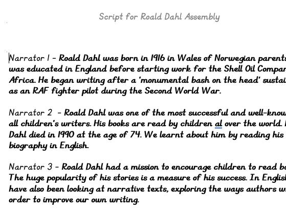 Roald Dahl Assembly -BFG theme