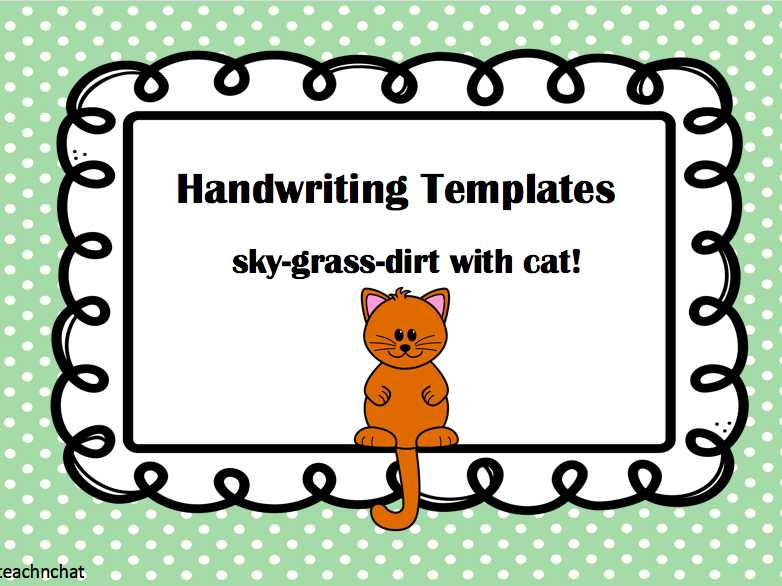 Handwriting template with sky, grass & dirt background and cat prompt.